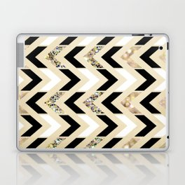 Black, White & Gold Glitter Herringbone Chevron on Nude Cream Laptop & iPad Skin