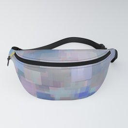 geometric square pattern abstract background in blue and pink Fanny Pack