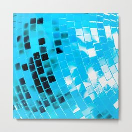 Blue Mirrored Disco Ball Metal Print