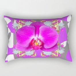 Modern Art Lilac-White Orchid Grey Patterns Rectangular Pillow