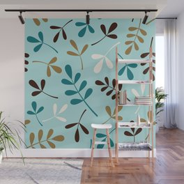 Assorted Leaf Silhouettes Teals Cream Brown Gold Wall Mural