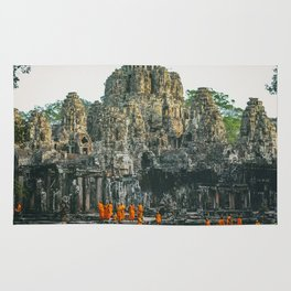 Unidentified Buddist monks from Thailand at one of the temple of Bayon Temple .Buddhism is currently Rug