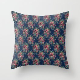 Vintage Roses on Blue Floral Pattern Throw Pillow