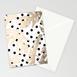 Simply Tropical White Gold Sands Palm Leaves on Dots Stationery Cards