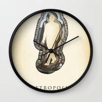 metropolis Wall Clocks featuring metropolis by Vin Zzep
