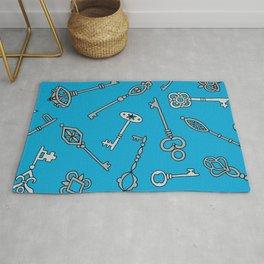 Blue Skeleton Keys Rug
