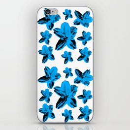 Bright blue tropical flowers on white, floral texture. iPhone Skin