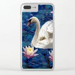 White Swan & Peach Water Lilies Blue Art Clear iPhone Case
