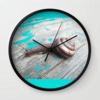 snail Wall Clocks featuring Snail by Nita Bond