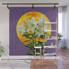 EASTER LILIES ON LILAC GOLDEN MOON ABSTRACT Wall Mural