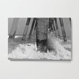 Pier View B/W Metal Print
