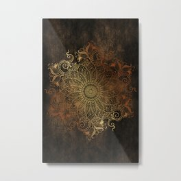 Mandala - Copper Metal Print