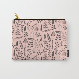 Pink and black leaves Carry-All Pouch