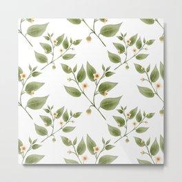 White Floral Metal Print