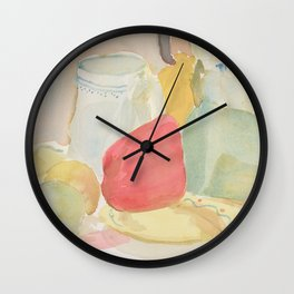 Still Life with Fruit and Crockery Wall Clock