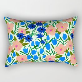 California Wild Rose and Tulip Abstract Floral Rectangular Pillow