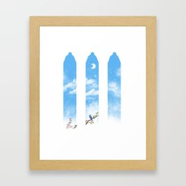 Moon in the sky and a bluebird Framed Art Print