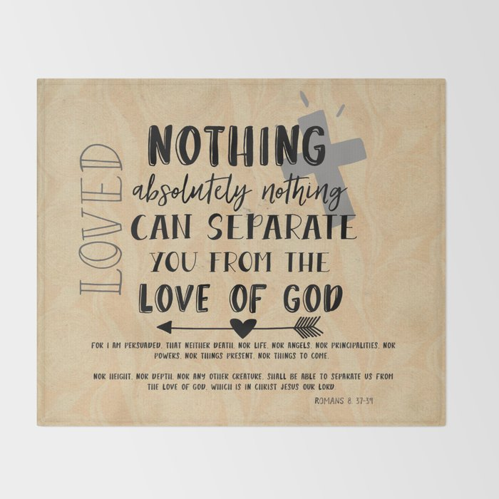 Love of God Bible Quote Typography Throw Blanket