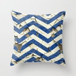 Peeling Chevrons Blue Throw Pillow