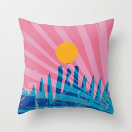 Yellow sun in the pink sky of the French Riviera Throw Pillow