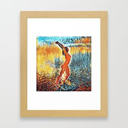3442s-HS Lake Superior Nude Rendered in Impressionistic Style by Chris Maher Framed Art Print