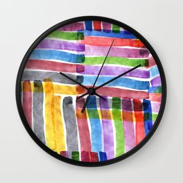 Rainbow Stripe Brush Stroke in Watercolor Abstract Pattern Wall Clock