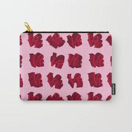 LOVE 3D Icon on pink background Carry-All Pouch