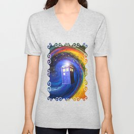 Tardis Doctor Who Fly into Time Vortex Unisex V-Neck