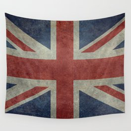 UK Flag, Dark grunge 3:5 scale Wall Tapestry