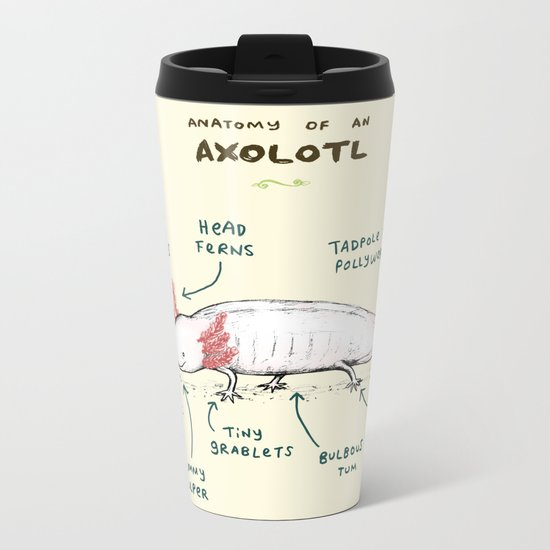 Anatomy of an Axolotl Metal Travel Mug