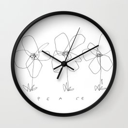 Although It Was Easy When We Were Babies no.0 - black and white line art minimal flower illustration Wall Clock