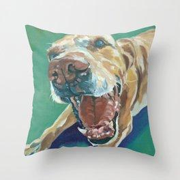 Yellow Labrador Dog Portrait Throw Pillow