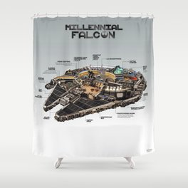Millennial Falcon Shower Curtain
