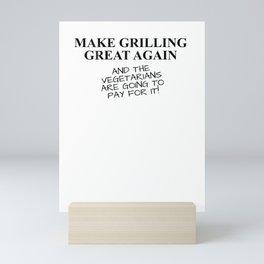 Funny BBQ Grill Accessory Pitmaster Gift Dad Men Back Print Mini Art Print