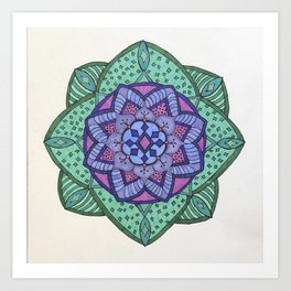 Purple and green flower mandala Art Print