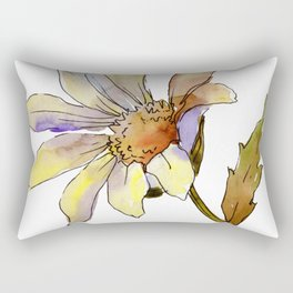 Single Wataercolor Daisy Flower Rectangular Pillow