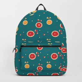 Grapefruit pattern on emerald green background Backpack