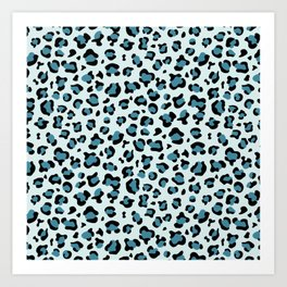 Animal Print, Spotted Leopard - Blue Black Art Print