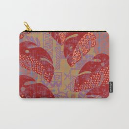 Hawaiian Lava Leaves Tapa Print Carry-All Pouch
