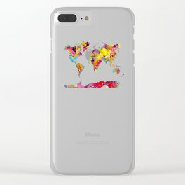 world map color art Clear iPhone Case