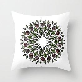 Mandala Wreath: colored florals Throw Pillow