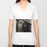 johnny depp V-neck T-shirts featuring Johnny Depp by Future Illustrations- Artwork by Julie C