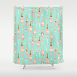Rose champagne wine food fight apparel and gifts Shower Curtain