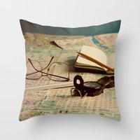 world maps Throw Pillows featuring Maps by Sciuridae