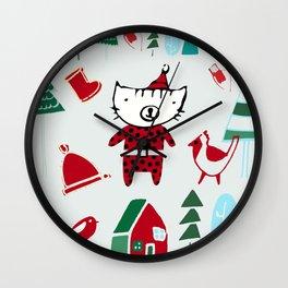 Cute Christmas cat gray Wall Clock