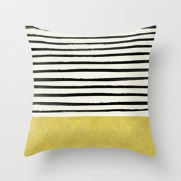 Gold x Stripes Throw Pillow