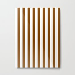 Narrow Vertical Stripes - White and Chocolate Brown Metal Print