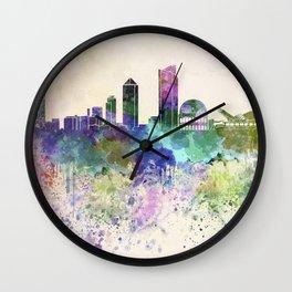 Lyon skyline in watercolor background Wall Clock