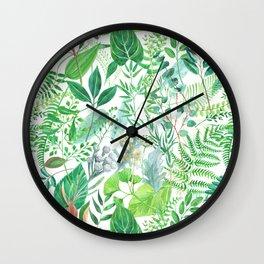 greenery watercolor pattern Wall Clock