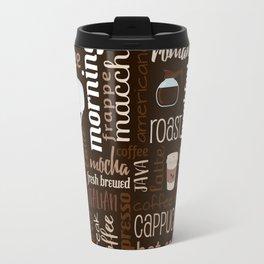 Dark Coffee Typography Pattern Travel Mug